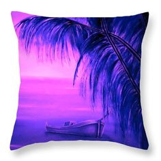 Tropical Throw Pillow featuring the painting Boat At Sunset by Faye Anastasopoulou