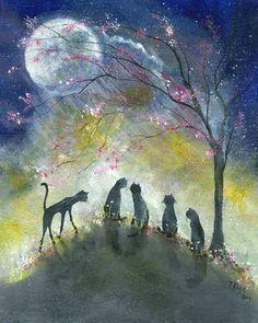 $45.00 Original Painting Cat Spring Moon Halloween Gothic Folk Art Primative Terri Foss
