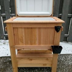 All weather 48-QT Rustic Cedar Chest Cooler Stand with Brass | Etsy Cooler Stand, Ice Chest Cooler, Pallet Furniture Easy, Deck Furniture, Wood Cooler, Beer Cooler, Cool Pops, Catcher