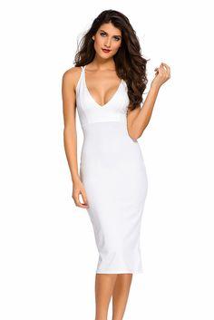 $12.83 Buy Cheap White Double Straps Cross Back V Neck Calf Length Dress at Online Shop http://en.modebuy.com @modebuyshop #modebuyshop @modebuy #modebuy #White  #me #dress #so #art #blue #shoes #clouds