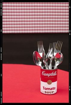 soup can silverware holder for picnic or outdoor meal