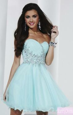 bfd266a5536 Glamorous Sweetheart Neckline Tulle With Chiffon Overlay Hand Sewn Sparkles  Bead Work Short Blue Homecoming Dress(China (Mainland))