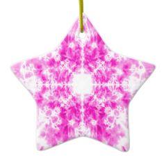 Colourful pink kaleidoscope pattern ceramic star decoration
