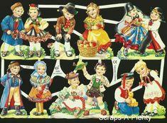 German Embossed Scrap Die Cut - Various Nation Dressed Children Contemporary Decorative Art, Decoupage, Kids Girls, Boys, Naive Art, Christmas Angels, Die Cutting, Retro, Victorian Fashion