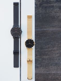 Black and Gold Mesh (unisex) watch