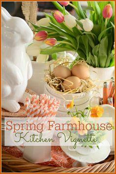 Spring Farmhouse Kitchen Vignette ideas for spring!