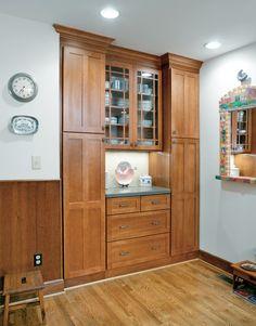 Built in pantry storage in kitchen designed by Monica Miller, CKD, CBD, CR