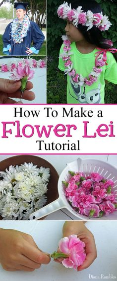 How to Make a Flower Lei and Headband Craft Tutorial, DIY and Crafts, How to Make a Flower Lei Tutorial - Making a flower lei is much easier than it looks. See how I made a floral necklace with fresh flowers. Flower Lei, Flower Crafts, Diy Flowers, Fresh Flowers, Paper Flowers, Wedding Flowers, Cheap Mothers Day Gifts, Mothers Day Crafts For Kids, Mother Day Gifts