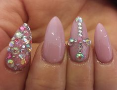 Dusty pink nails with a bit of bing very glam