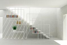 Après une belle installation centrale présentée hier voici un bel escalier design en métal avec un astucieux système de rangement qui fait aussi office de rambarde… C'est malin, minimaliste et très réussi visuellement. Cet escalier a été designé par Amir Zinaburg. Partagez cet article :115 PARTAGES Partager10 Tweet1 Partager1