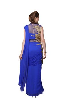 Navy Blue Bright Saree With Embroider Side Design!