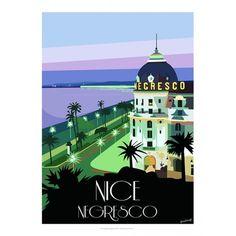 The Famous 'Hotel Negresco' Europe Train Travel, Paris Travel, Illustrations Vintage, Illustrations Posters, France Drawing, Nice Ville, Tourism Poster, Art Deco Posters, Vintage Travel Posters