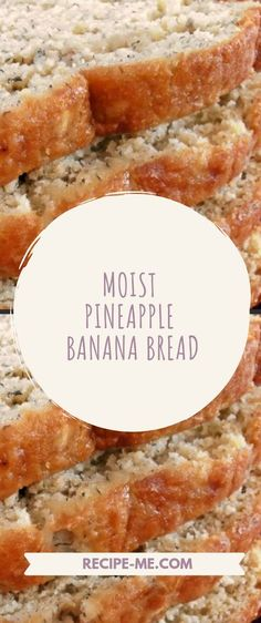 Quick and Easy Pineapple Banana Bread Recipe, Banana Bread Easy Moist, Healthy Banana Bread, Banana Bread Recipes, Banana Bread Cookies, Recipes For Bananas, 2 Bananas Banana Bread, Desserts With Bananas, Pineapple Recipes Healthy