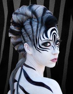 67 Halloween to Try This Year Art Zebra costume zebra makeup ideas - Makeup Ideas Zebra Makeup, Animal Makeup, Tiger Makeup, Lion Makeup, Makeup Fx, Hair Makeup, Doll Makeup, Glamour Fashion, Zebra Costume
