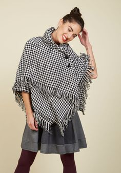 Ticket to Ferry Ride Cape. Through the ferry's morning mist, you stay cute and cozy in this houndstooth cape!  #modcloth