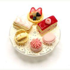 Strawberry  Cake Selection on Glass Cake Stand  - Dollhouse Miniature Food Handmade