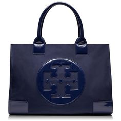 Tory Burch Nylon Ella Tote ($195) ❤ liked on Polyvore featuring bags, handbags, tote bags, navy blue, navy blue handbags, tote purses, handbags totes, navy tote bag and blue purse