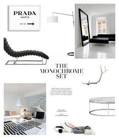 """""""The Black and the White"""" by fyenksfiona ❤ liked on Polyvore featuring interior, interiors, interior design, home, home decor, interior decorating, Prada, CB2, Lazy Susan and modern"""