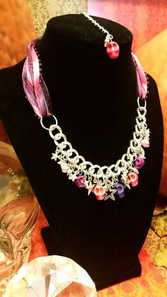 Pink & Purple Lace & Skulls White Silver Chain & Stars necklace