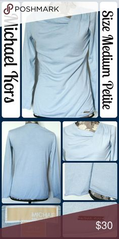 """Sz MP MICHAEL KORS Light Blue Sweater Asymmetrical So cute and perfect dressed up or down! Excellent pre worn condition! It is 60% cotton and 40% rayon. It has an unusual neckline. Across Bust 18"""", Length 26"""" from center back, Sleeve from armpit to end 17"""" No rips, tears, or stains.... From a smoke-free, dog friendly home, No trades!! (T177) Michael Kors Sweaters"""