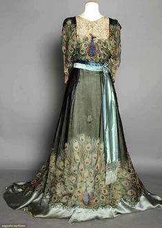 Peacock Print Evening Gown, C. 1910, Augusta Auctions