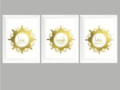 Set of three Real foil Gold Wall Art Print Mandala Inspirational Quote. by GlitzyPrints on Etsy Invitation Design, Invitations, Gold Wall Art, Unique Wall Art, Gold Foil, Etsy Store, Wall Art Prints, Mandala, My Etsy Shop
