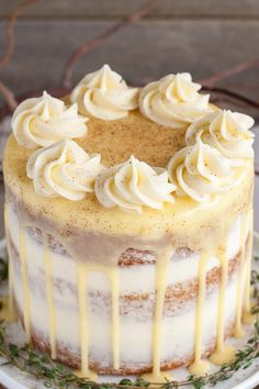 Spiked Eggnog Cake - This rum spiked Eggnog Cake with cream cheese frosting and white chocolate ganache is just the thing to warm Cherry Cheesecake Bites, Mini Cherry Cheesecakes, Crazy Cake Recipes, Crazy Cakes, Easy Desserts, Delicious Desserts, Dessert Recipes, Kraft Recipes, Healthy Desserts