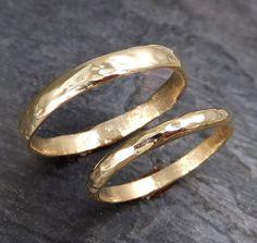 Fedi nuziali personalizzati 14k oro martellata di byAngeline