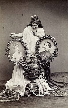 A conmemorative image of the engagement of Princess Margherita of Savoia-Genoa and Prince Umberto of Piedmont, later King Umberto I of Italy. 1868.