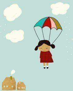 Ilustración Art Print - pared arte - cartel, damas, vivero - le cayó del cielo infantil (chica)