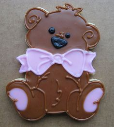 precious teddy with bow -these would be cute at a baby shower to!