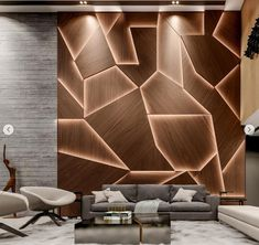 Amazing 36 Brilliant Living Room Wood Ceiling Design Ideas That You Should Try Wall Panel Design, Wall Decor Design, Ceiling Design, Wooden Wall Design, 3d Wall Panels, Wall Designs For Hall, Hall Design, Home Room Design, Home Interior Design