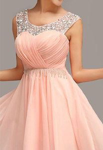 Price:$89.99 Material: Chiffon Color: Pink Sweet Elegant Pink Rhinestone Fringe Party Dress