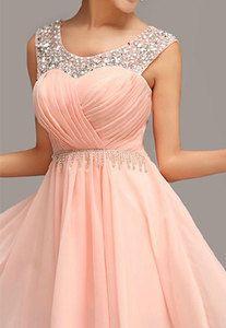 Price:$89.99 Material: Chiffon Color: Pink Sweet Elegant Pink Rhinestone Fringe Party Dress