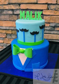 Little Man Mustache Bash & Bow Tie Cake! This theme works great with baby showers, birthdays and even an older boys birthday party. Little Man Cakes, Little Man Party, Little Man Birthday, Birthday Cakes For Men, Cakes For Boys, Birthday Ideas, Cake Birthday, Boy Cakes, Birthday Wishes