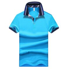 Sale 11% (19.46$) - S-3XL Summer Mens Lapel Short Sleeved Polo T-shirts Slim Solid Color T-shirt Plaid Collar Tees