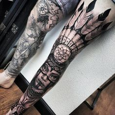 Mens Full Leg Sleeve Native American Indian Dreamcatcher Tattoos