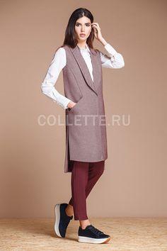 Photo from album on Yandex. Couture Fashion, Hijab Fashion, Sleeveless Coat, Fashion Images, Fashion Trends, Long Vests, Vest Outfits, Mode Hijab, Coat Dress