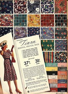1939 Sears catalog - fabric swatches