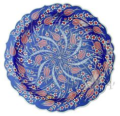 , Iznik Design Ceramic Plate - Tulip , An important cultural center during the reign of Suleyman the Magnificent, the rural town of Iznik (ancient Nicea) nestles on a lakeside in Northwest . Turkish Art, Turkish Tiles, Plate Wall Decor, Plates On Wall, Glass Ceramic, Ceramic Plates, Decorative Plates, Arabesque Pattern, Ottoman