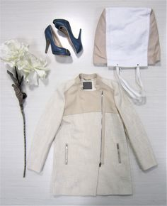 Ak europe | women trench | spring outfit | casual woman outfit | white cream blue | flat lay | ss18 trend | italian style