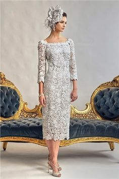 8fd2c9c4b08 Tea-length Lace Mother of the Bride Dress Mother Of The Bride Gown