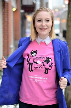 Vancouver Vogue - Pink Shirt Day: Stand up to Bullying in Style! Stand Up, Bullying, Vancouver, Centre, How To Make, How To Wear, Vogue, Graphic Sweatshirt, Sweatshirts