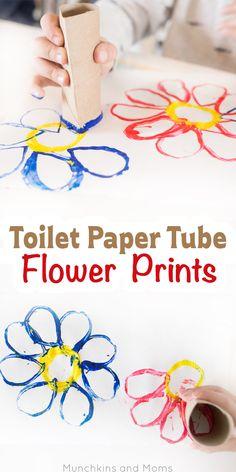 Toilet paper tube flower prints kindergarten art, preschool art, craft activities for kids, Toddler Art, Toddler Crafts, Toddler Activities, Crafts For Kids, Kids Diy, Flower Activities For Kids, Diy Upcycled Art, Upcycled Furniture, Furniture Ideas