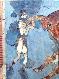 Fresque d'Héraklion, - 1500, art minoen, musée d'archéo d'Héraklion