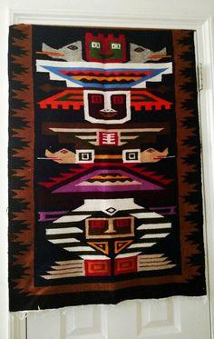 Peruvian Hand Woven Wool Wall Hanging or rug Fiber Art Weaving Peru Vintage Boho Ethnic Tribal Folk Wall Decor Fiber Art de AlpakaStyle en Etsy
