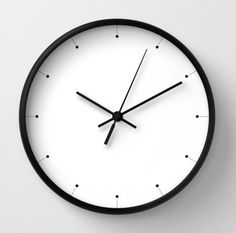 Simple wall clock black and white clock by LazyLittleLuckyGirl