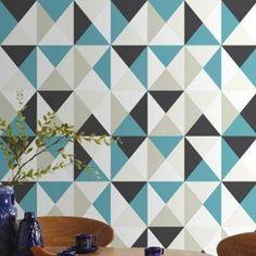 Papier peint intissé Polygone bleu | Leroy Merlin