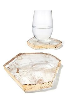 kivita coasters smoky quartz gold(set of 2)