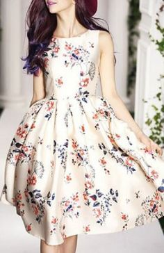 So Pretty! Vintage Floral Print Round Collar Sleeveless Dress For Women #Vintage #Style #Floral #Summer #Dress #Fashion